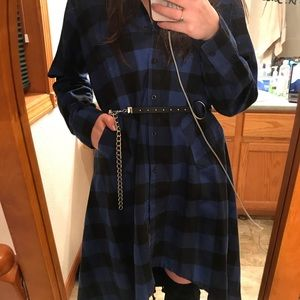Black and Blue Flannel Button-Up Dress